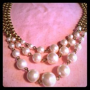 Triple Strand Pearlesque Necklace